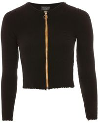 TOPSHOP - Ribbed Zip Through Cardigan - Lyst