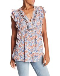 Democracy - Printed Flutter Sleeve Tank Top - Lyst