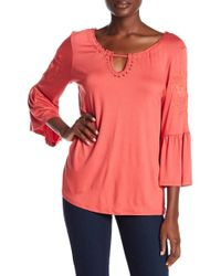 Cable & Gauge - 3/4 Length Sleeve Embroidered Ruffle Shirt - Lyst