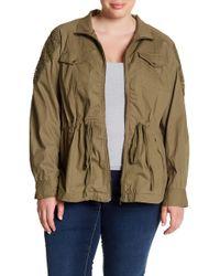 100f1a7cbc11 Blu Pepper - Lace Shoulder Utility Jacket (plus Size) - Lyst