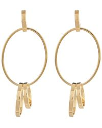 Argento Vivo - 18k Gold Plated Sterling Silver Oval Post Drop Earrings - Lyst