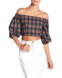 FAVLUX - Off-the-shoulder 3/4 Length Sleeve Plaid Print Crop Top - Lyst