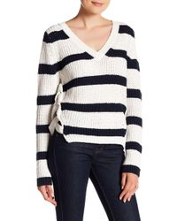Fate - Striped Lace Up Sweater - Lyst