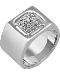Swarovski - Tactic Rhodium Plated Pave Crystal Ring - Lyst