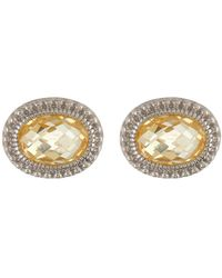 Judith Ripka - Sterling Silver Sanibel Oval Stone Stud Earrings - Lyst