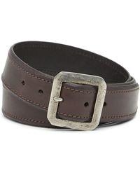 John Varvatos - Leather Square Buckle Belt - Lyst