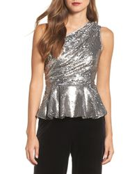 Eliza J - One-shoulder Sequin Peplum Top - Lyst
