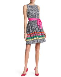 Eliza J - Patterned Fit & Flare Dress - Lyst