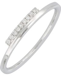 Bony Levy - 18k White Gold Pave Diamond Bar Stacking Band Ring - 0.04 Ctw - Lyst
