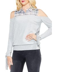 Two By Vince Camuto - Cold Shoulder Mix Media Top - Lyst