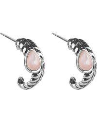 Relios - Sterling Silver Pink Mother Of Pearl C-hoop Earrings - Lyst