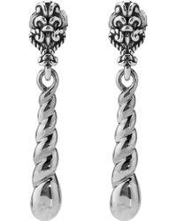 Relios - Sterling Silver Dangling Twist Medallion Stud Earrings - Lyst