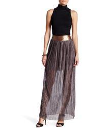 41b2866dfb Dress the Population - Elena Pleated Metallic Skirt - Lyst