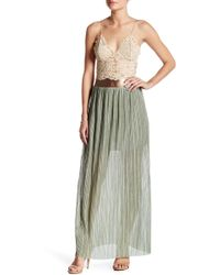 Dress the Population - Elena Pleated Metallic Skirt - Lyst