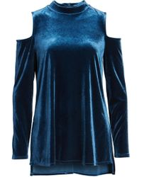 Halogen - (r) Velvet Cold Shoulder Top (regular & Petite) - Lyst