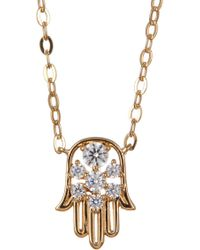 Nadri - 18k Gold Plated Brass Cz Hamsa Pendant Necklace - Lyst