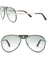 Roberto Cavalli - 59mm Snake Embossed Leather & Metal Aviator Sunglasses - Lyst