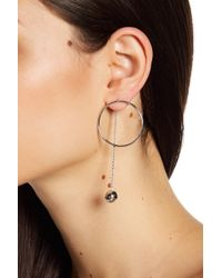 Liberty - Sterling Silver Circle & Drop Ball Post Earrings - Lyst