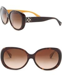 COACH - 57mm Round Sunglasses - Lyst