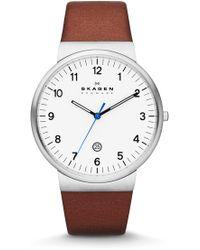 Skagen   Men's Ancher Leather Strap Watch, 40mm   Lyst