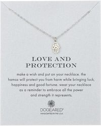 Dogeared - Sterling Silver 'love & Protection' Cutout Hamsa Hand Pendant Necklace - Lyst