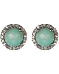 Adornia - Sterling Silver Echo Light Emerald & Diamond Halo Stud Earrings - 0.38 Ctw - Lyst