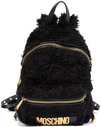 Moschino - Mohair Blend Fuzzy Logo Backpack - Lyst