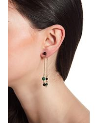 House of Harlow 1960 Ulli Beaded Malachite Front & Back Dangle Earrings