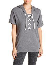 Andrew Marc - Short Sleeve Front Lace-up Hooded Pullover - Lyst