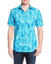 Bugatchi - Tropical Shaped Fit Print Sport Shirt - Lyst