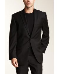 best value d5d41 965a2 Calvin Klein - Slim Fit Black Solid Two Button Wool Jacket - Lyst