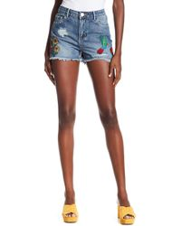 Dex - Embroidered Distressed Denim Shorts - Lyst