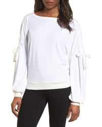 Halogen - Ruched Bow Sleeve Top (regular & Petite) - Lyst