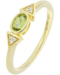 Bony Levy - Iris 18k Yellow Gold Bezel Set Oval Peridot & Pave Diamond Ring - Lyst