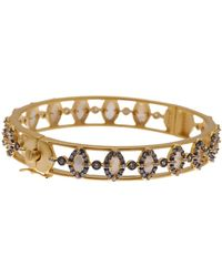 Freida Rothman - 14k Gold Plated Sterling Silver Marquise Mother Of Pearl Bangle Bracelet - Lyst