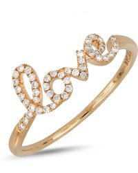 Bony Levy - 18k Rose Gold Diamond Accent Love Ring - 0.13 Ctw - Lyst