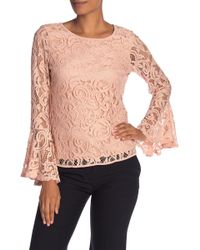 Adrianna Papell - Lace Dramatic Bell Sleeve Blouse - Lyst