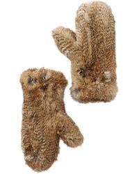 Surell - Genuine Rabbit Fur Mittens - Lyst