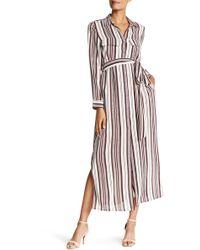 Acrobat - Striped Silk Shirt Dress - Lyst