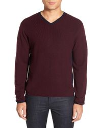 Zachary Prell - V-neck Colorblock Merino Wool Pullover - Lyst