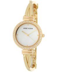 Anne Klein - Women's Embellished Gold Bangle Watch - Lyst