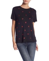 Romeo and Juliet Couture - Sequin Heart Print T-shirt - Lyst