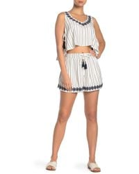 L*Space - Bonnie Striped Embroidered Hem Shorts - Lyst