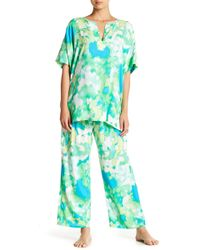 N Natori - Printed Caftan & Pants 2-piece Pajama Set - Lyst