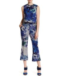 ABS By Allen Schwartz - Floral Print Cropped Flare Pants - Lyst