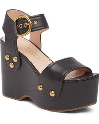 Marc Jacobs - Lana Wedge Leather Sandal - Lyst