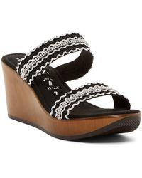 Italian Shoemakers | Crystal & Ric Rac Slide Wedge Sandal | Lyst
