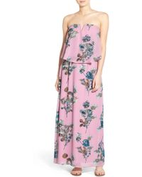 Way-in - Floral Print Popover Maxi Dress - Lyst