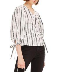 TOPSHOP - Balloon Sleeve Stripe Wrap Top - Lyst