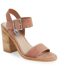 2be5c80ff01 Steve Madden  estoria  Ankle Strap Sandal in Brown - Lyst